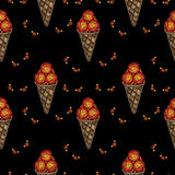 Seamless pattern with Ice cream embroidery stitches imitation Stock Image