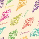 Seamless pattern with ice cream hand drawn. Perfect seamless pattern with ice cream cones hand drawn in vector Royalty Free Stock Images