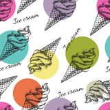 Seamless pattern with ice cream hand drawn. Perfect seamless pattern with ice cream cones hand drawn in vector Stock Photography
