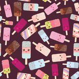 Seamless pattern ice cream, ice lolly  Kawaii with pink cheeks and winking eyes, pastel colors on dark brown background. Vector Royalty Free Stock Photo