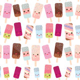 Seamless pattern ice cream, ice lolly  Kawaii with pink cheeks and winking eyes, pastel colors on white background. Vector Royalty Free Stock Image