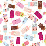 Seamless pattern ice cream, ice lolly  Kawaii with pink cheeks and winking eyes, pastel colors on white background. Vector Royalty Free Stock Photography