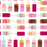 Seamless pattern ice cream, ice lolly  Kawaii with pink cheeks and winking eyes, pastel colors on white background. Vector Stock Images