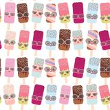 Seamless pattern ice cream, ice lolly  Kawaii with pink cheeks and winking eyes, sunglasses, pastel colors isolated on white backg. Round. Vector illustration Stock Images