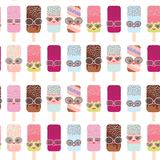 Seamless pattern ice cream, ice lolly Kawaii with pink cheeks and winking eyes, sunglasses, pastel colors isolated on white backgr. Ound. Vector illustration Royalty Free Stock Photos
