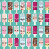 Seamless pattern ice cream, ice lolly  Kawaii with pink cheeks and winking eyes, sunglasses, pastel colors on light blue backgroun. D. Vector illustration Royalty Free Stock Photo