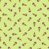 Seamless pattern of ice cream with jam in a waffle cup, on a pistachio background vector illustration
