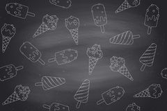Seamless pattern with ice cream in line graphic on chlalk background Royalty Free Stock Images
