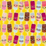 Seamless pattern ice cream, ice lolly  Kawaii with pink cheeks and winking eyes, sunglasses, pastel colors on yellow orange backgr. Ound. Vector illustration Royalty Free Stock Images