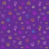 Seamless pattern with ice-cream, pie and cupcakes Stock Photos