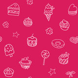Seamless pattern with ice-cream, pie and cupcakes Stock Photography