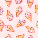 Seamless pattern. Ice cream on a light background. Pattern for textiles, wrapping paper, packaging. Seamless pattern. Ice cream on a pink background. Pattern Stock Photography