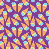 Seamless pattern with ice cream on purple background. Vector seamless pattern with ice cream on purple background royalty free illustration