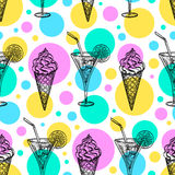Seamless pattern with ice cream and tankard. Seamless pattern with ice cream cones and cool tankards. Hand drawn vector illustration Royalty Free Stock Photography