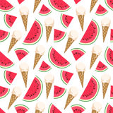 Seamless pattern with ice cream and watermelon. Stock Image