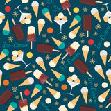 Seamless pattern with ice creams  on blue background Stock Images