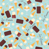 Seamless pattern with ice creams  on blue background Royalty Free Stock Photography