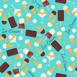 Seamless pattern with ice creams  on blue background Royalty Free Stock Photos