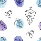 Seamless pattern with ice creams Stock Images