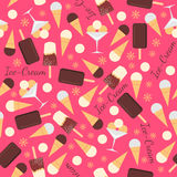 Seamless pattern with ice creams. illustration Royalty Free Stock Image