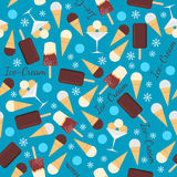Seamless pattern with ice creams isolated on blue Stock Photo
