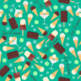 Seamless pattern with ice creams isolated on green Stock Image