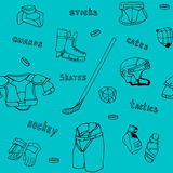 Seamless pattern  ice-hockey equipment sport icon Stock Image
