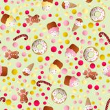 Pattern with ice lolly, cookies, donuts with cream. Seamless pattern with ice lolly, cookies, donuts with cream, cupcakes, bonbon and sprinkles with smile faces Royalty Free Stock Photo