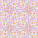 Seamless pattern with icecream on purple Royalty Free Stock Photo