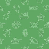Seamless pattern of icon of Fatherland Defender's Day. Seamless vector pattern of icon of Fatherland Defender's Day on green background Royalty Free Stock Photo
