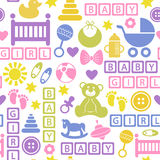 Seamless pattern with icons for baby girl Stock Photography