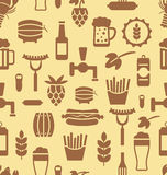 Seamless Pattern with Icons of Beers and Snacks Royalty Free Stock Image
