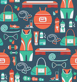 Seamless pattern with icons of fitness. Stock Photos