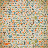 Seamless pattern of the icons on the Internet in vintage Royalty Free Stock Photos