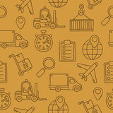 Seamless pattern of the icons of logistics Stock Photos