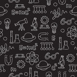 Seamless pattern of the icons on the physics Stock Photos