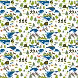Seamless pattern. Icons of tourism in nature, the family goes on a hike, ecotourism, a fisherman in a boat, nature types: mountain. S, forest, meadow, coniferous Royalty Free Stock Images