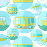 Seamless pattern with icons of transport bus, airplane, ship.  Royalty Free Stock Image