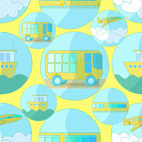 Seamless pattern with icons of transport bus, airplane, ship  Stock Photos
