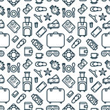 Seamless Pattern of Icons. Travel and Leisure Theme Background. Stock Image