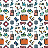 Seamless Pattern of Icons. Travel and Leisure Theme Background. Vector Illustration Royalty Free Stock Photography