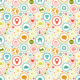 Seamless pattern with icons on various themes Stock Photos