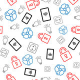 Seamless pattern with icons on white background. Internet of things Stock Photography