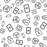 Seamless pattern with icons on white background Stock Photos