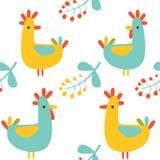 Seamless pattern:  illustartion of retro colored birds Stock Photos