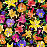 Seamless pattern illustration with abstract flowers lilies and pansies Royalty Free Stock Images