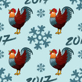 Seamless pattern Illustration for happy new year 2017 red rooster cock. Illustration for happy new year 2017 red rooster. Vector element of design logo, card Vector Illustration
