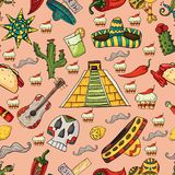 seamless pattern illustration on isolated background Mexican elements pink background royalty free illustration