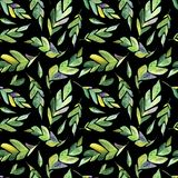 Watercolor Emerald Leaves Seamless Pattern Background stock illustration