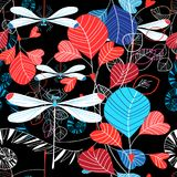 Seamless pattern illustration of summer leaves and dragonfly stock illustration